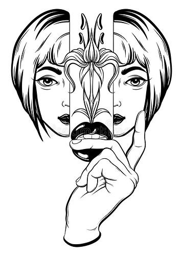 vector-hand-gezeichnete-surreale-illustration-des-mädchens-hand-und-lippen-93152209