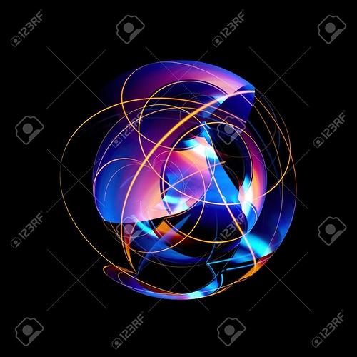87976468-3d-atom-symbol-leuchtendes-kernmodell-auf-dunklem-hintergrund-glühende-energiekugeln-molekülstruktur-spuren-vo