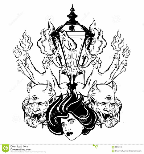 vector-hand-gezeichnete-surreale-illustration-von-schmelzenden-händen-frauengesicht-teufel-weinleselaterne-93152166