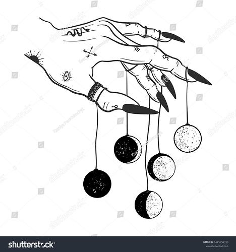 stock-vector-hand-drawn-line-art-of-witch-hand-holding-moon-phases-boho-chic-flash-tattoo-poster-altar-veil-1445858339