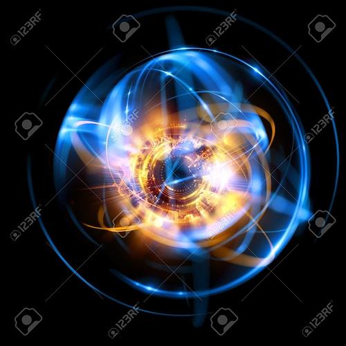 87976535-3d-atom-symbol-leuchtendes-kernmodell-auf-dunklem-hintergrund-glühende-energiebälle-molekülstruktur-spuren-von-a
