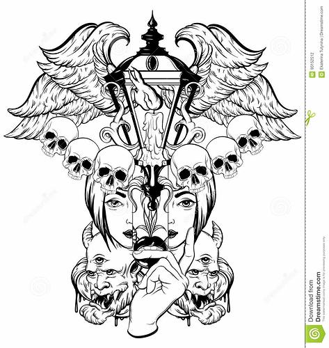 vector-hand-drawn-surreal-illustration-composition-lantern-woman-face-human-skull-devil-wings-tattoo-artwork-template-93152512