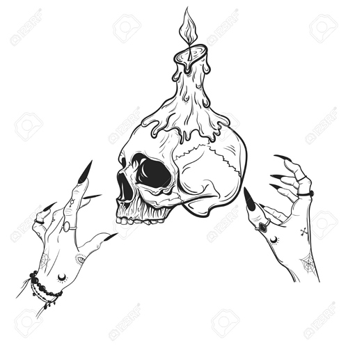 116444705-vector-illustration-skull-with-witch-hands-mysticism-background-white-handmade-prints-on-t-shirts-ta