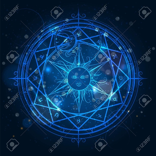 63748940-錬金術青色の背景色に輝く魔方陣%u3002ベクトル図