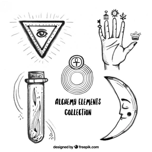 hand-gezeichnet-hand-und-alchemie-symbole_23-2147546637