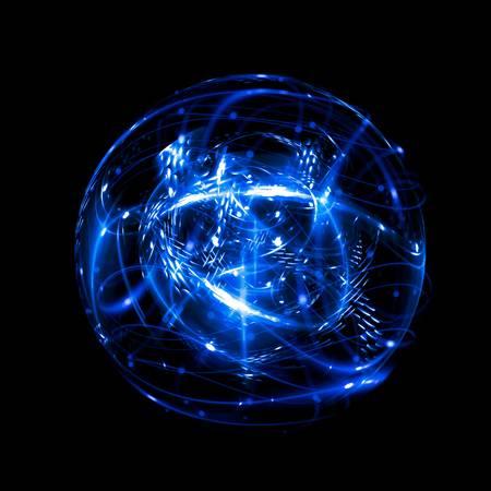 87975372-3d-atom-symbol-leuchtendes-kernmodell-auf-dunklem-hintergrund-glühende-energiebälle-molekülstruktur-spuren-von-a