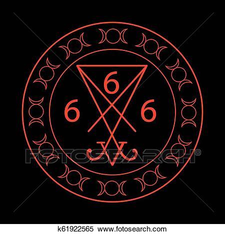 666-dass-zahl-von-dass-tier-mit-clipart__k61922565